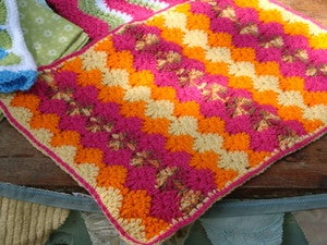 Image of MochilaMia Harlequin Afghan in 'Sunset'