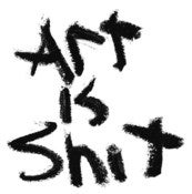Image of ART IS SHIT Screenprinted Stickers 3 Pack 4&quot;x4&quot; Weatherproof
