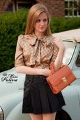 Image of Miss Patina Double Breasted Pussy Bow Blouse (golden check)