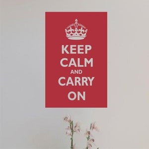 Image of Wall Decal Art Sticker - Keep Calm and Carry on Poster style- available in 4 sizes