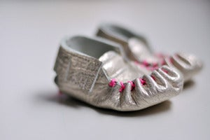 Image of Moccasins - Gold with Neon Pink Stitching