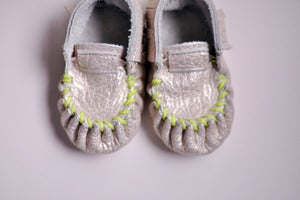 Image of Moccasins - Gold with Neon Green Stitching