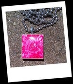Image of Pink Rose Scrabble Tile Pendant