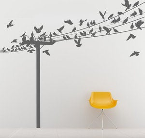 Image of Vinyl Wall Sticker Decal Art - Birds of a Feather Birds on Power Lines