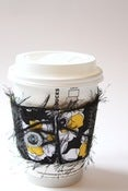 Image of Cup Cozy - Black, White, and Yellow with Flowers
