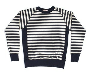 Image of Navy Stripe Ringspun Cotton Crossgrain Terry Crew