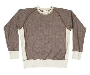 Image of Brown Heather Ringspun Cotton Crossgrain Terry Crew