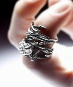 Image of dark silver stacking PAIR: Elvish rings, twigs &amp; natural rock crystal 