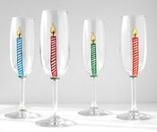 Image of Happy Birthday Candle Champagne Flutes--Set of 4
