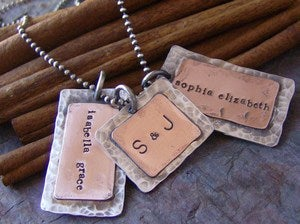 Image of Dad tags hand stamped sterling silver and copper necklace