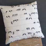 Image of Cushion Cover - Laundry Birds Black
