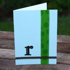 Image of Monogrammed Cards with Ribbon or Stitching