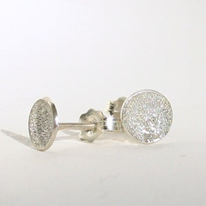 Image of sterling silver diamond dusted stud earrings