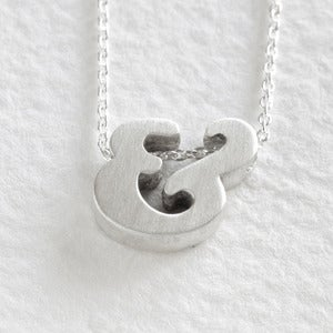 Image of sterling silver ampersand block letter necklace