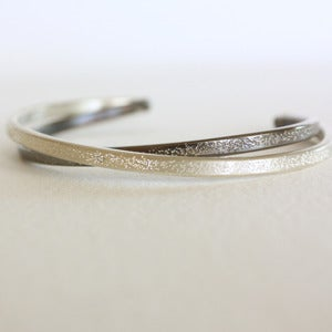 Image of sterling silver diamond dusted cuff bracelet