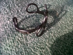 Image of GunMetal BLACK Real Scissors Bracelet - Wrist Cuff - Bangle