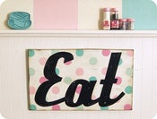 Image of Vintage style painted wood EAT sign Pastel colors