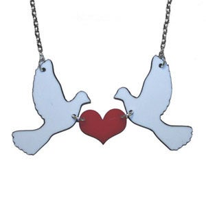 Image of Ltd. Edition Kissing Doves Necklace made from recycled vinyl records.