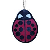 Image of Ltd. Edition Ladybug Necklace made from recycled vinyl records.