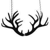 Image of Antler Necklace/Earrings made from a recycled vinyl record.