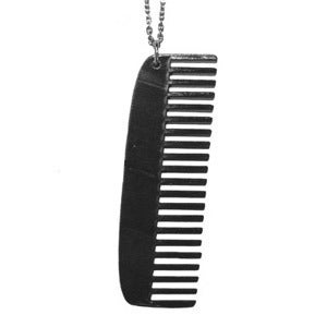 Image of Comb Necklace/Earrings made from a recycled vinyl record.