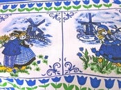 Image of Dutch blue and white themed vintage tablecloth