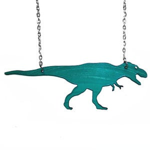 Image of Ltd. Edition T-Rex Necklace/Earrings made from a recycled vinyl record.