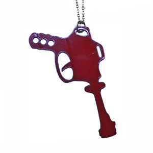 Image of Ltd. Edition Raygun Necklace made from recycled vinyl records.