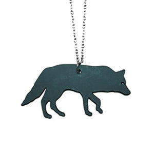 Image of Ltd. Edition Wolf Necklace/Earrings made from a recycled vinyl record.