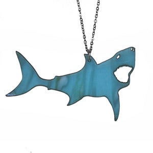 Image of Ltd Edition Great White Shark Shaped Necklace/Earrings made from a recycled vinyl record! 
