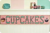 Image of Open Edition CUPCAKES sign PINK