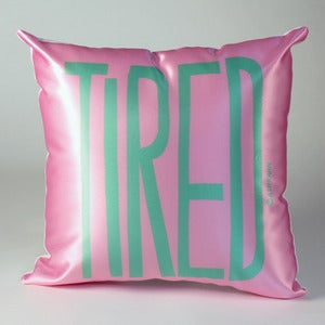 Image of TIRED Pillow (mint on pink)
