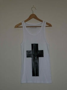 Image of Faux Black Snakeskin Cross Vest