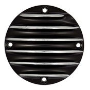 Image of Derby Cover Black With Polished Fins-4 Hole-Sportster