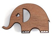 Image of Recycled Wood Elephant Brooch