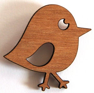 Image of Recycled Wood Chirpy Bird Brooch