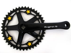 Image of Yellow stars - Black chainring