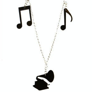 Image of Gramaphone Charm Necklace made from recycled vinyl records.