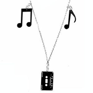Image of Tape Charm Necklace made from recycled vinyl records.