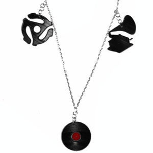 Image of Record/Gramaphone/45 Adapter Charm Necklace made from recycled vinyl records.