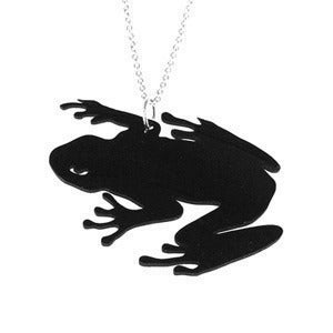 Image of Tree Frog Necklace/Earrings made from a recycled vinyl record.