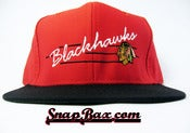 Image of VINTAGE CHICAGO BLACKHAWKS RED SNAPBACK