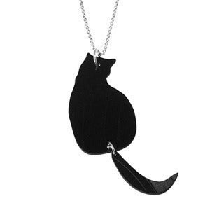 Image of Swinging Tail Cat Necklace made from a recycled vinyl record.