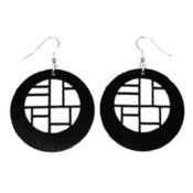 "Image of VLING CLASSIC ""DECCA"" Earrings made from a recycled vinyl record."
