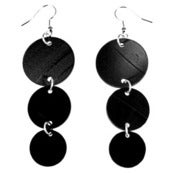 "Image of VLING CLASSIC ""VICTOR"" Earrings made from a recycled vinyl record."