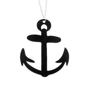 Image of Anchor Necklace/Earrings made from a recycled vinyl record.