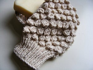 Image of Hand knit 100% organic cotton bathmitt.