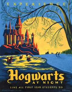 "Image of Hogwarts at Night 18""x22.5"" print"