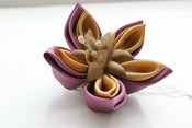 Image of Kanzashi Flower Hair Accessory. Hairclip in Dusky Pink and Butter Yellow