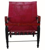 Image of Red Leather Campaign Chair